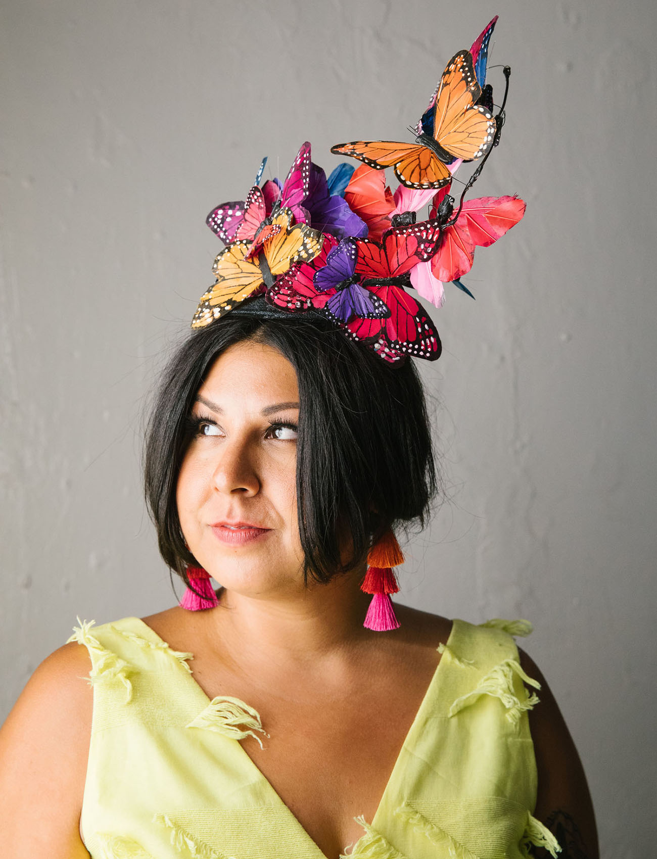 butterfly bridal hat