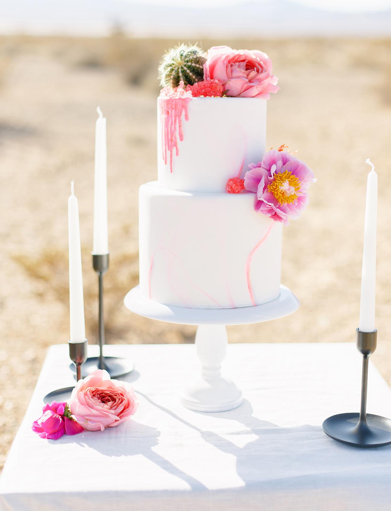 pink fresh flower cake