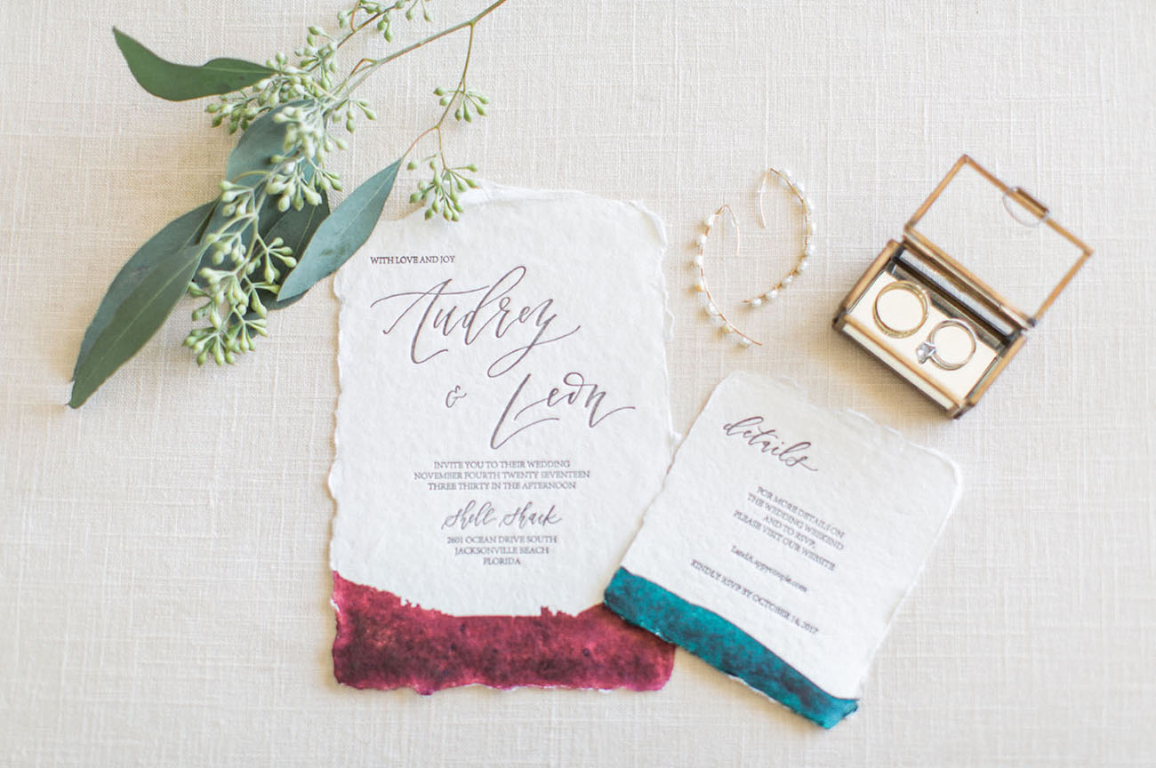 dip dyed invitation