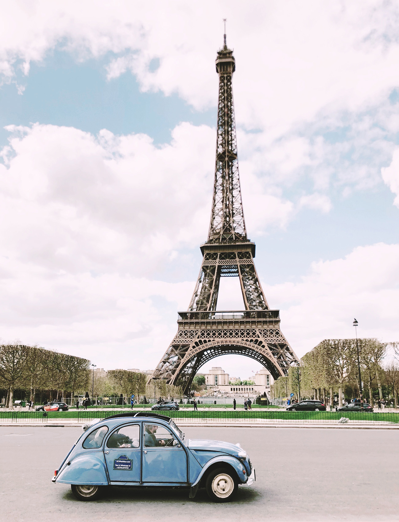 Eiffel Tower with Vintage Car