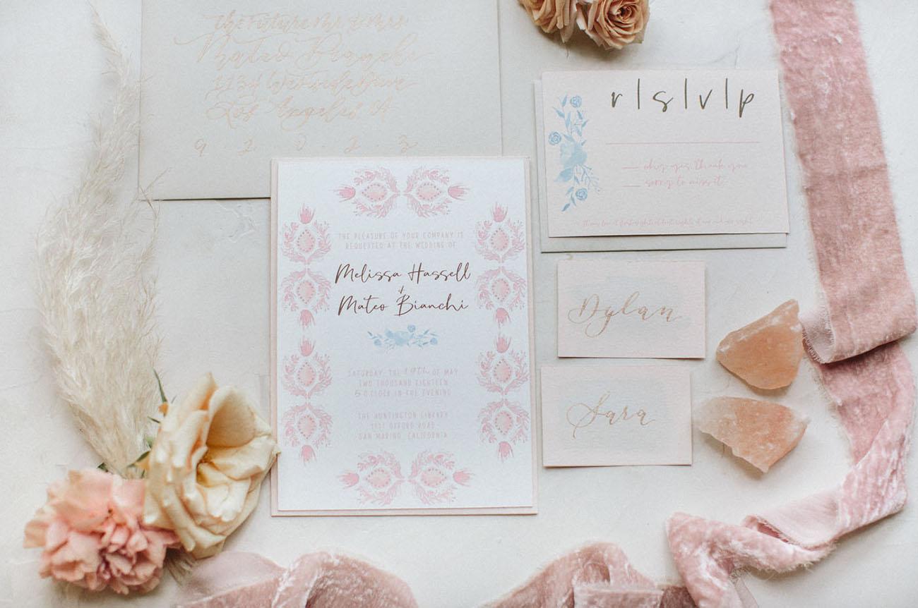 pink invitation suite