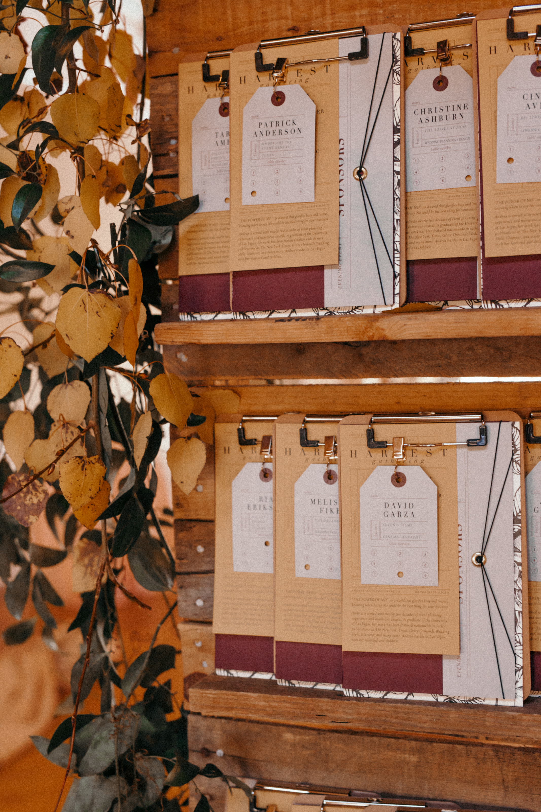 escort card display with clipboards