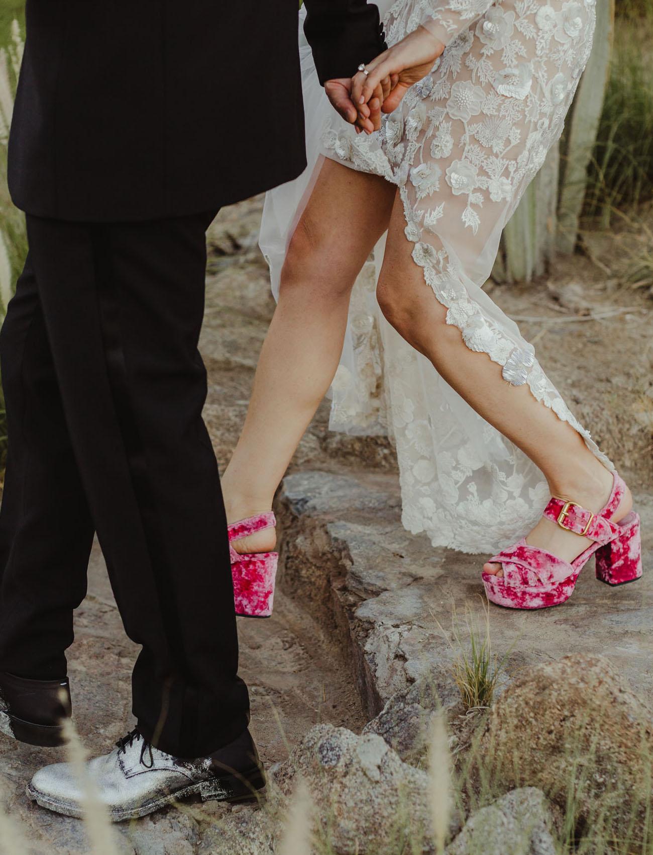crushed velvet heels