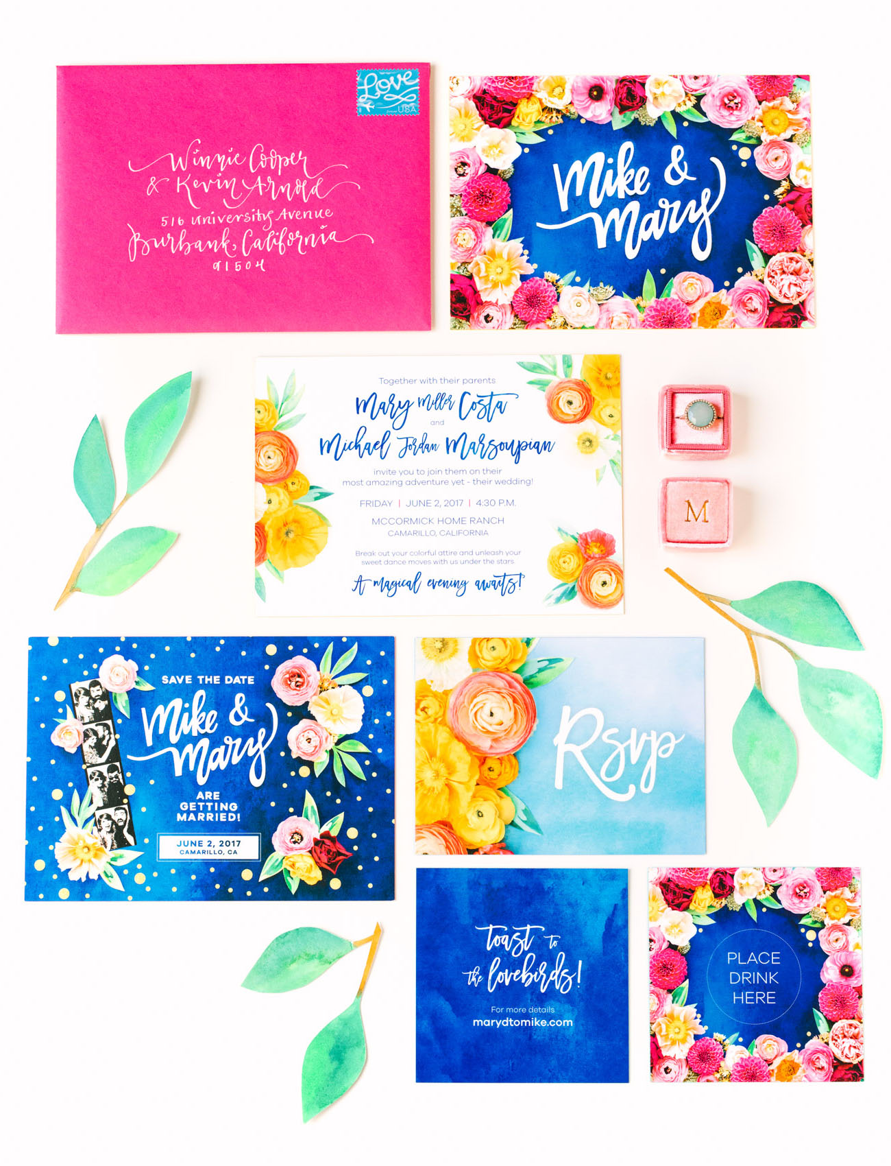 colorful floral invitation
