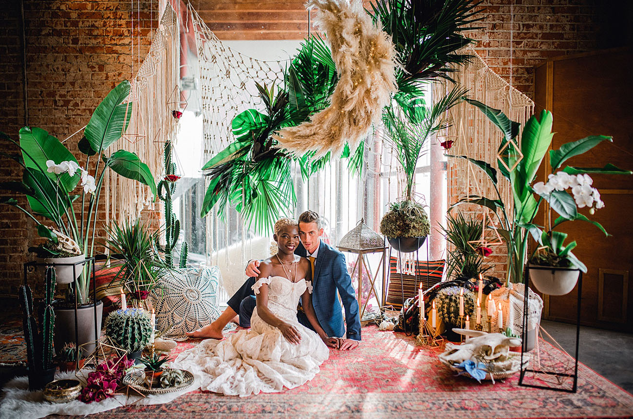 This Indoor Space Was Transformed Into the Most Magical Tropical Oasis for an Elopement