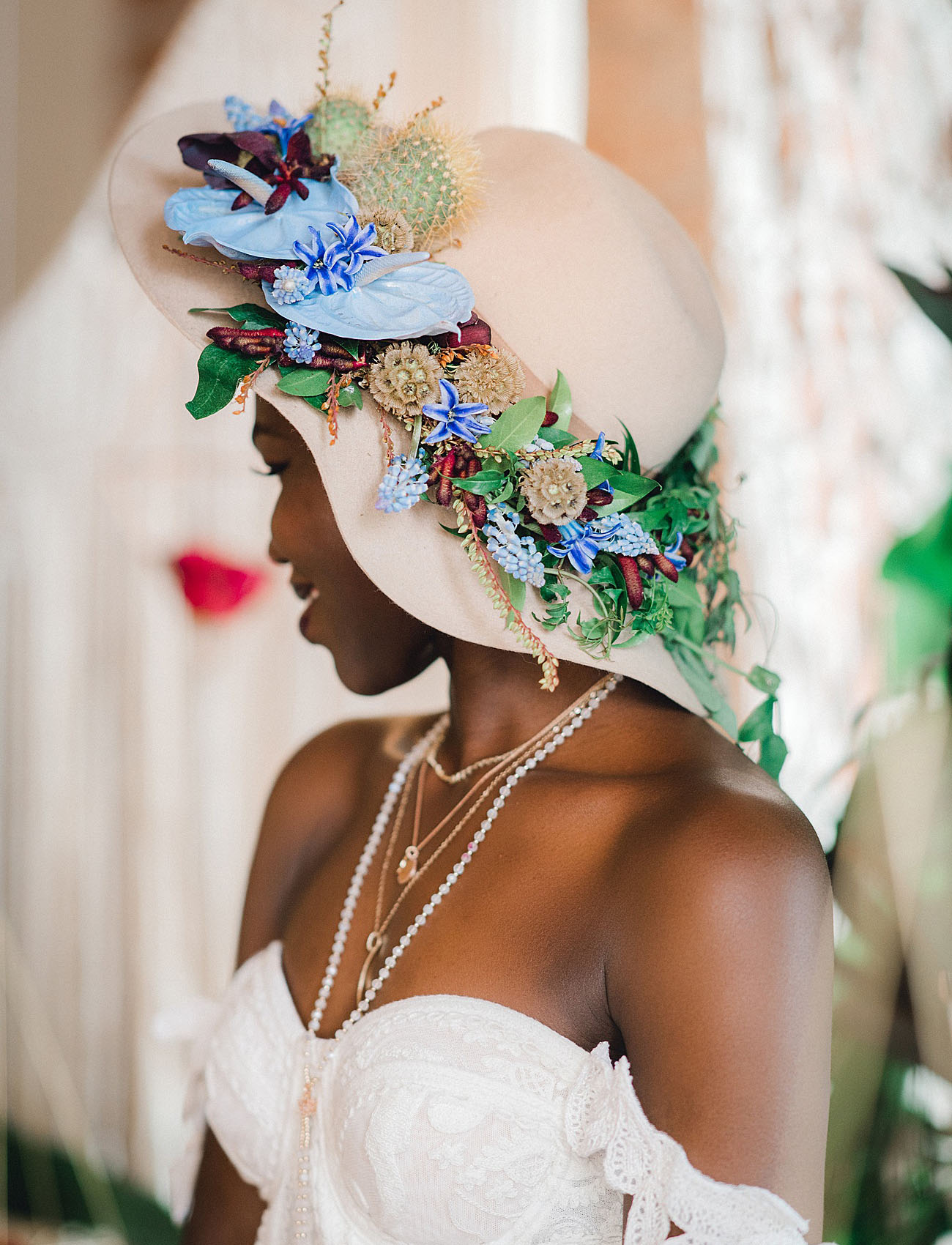 flower bridal hat