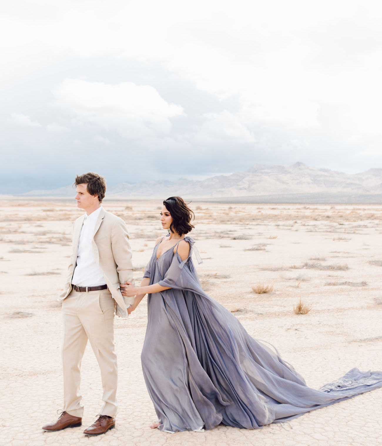 A Sweeping Periwinkle Gown Steals The Show In This Desert Elopement