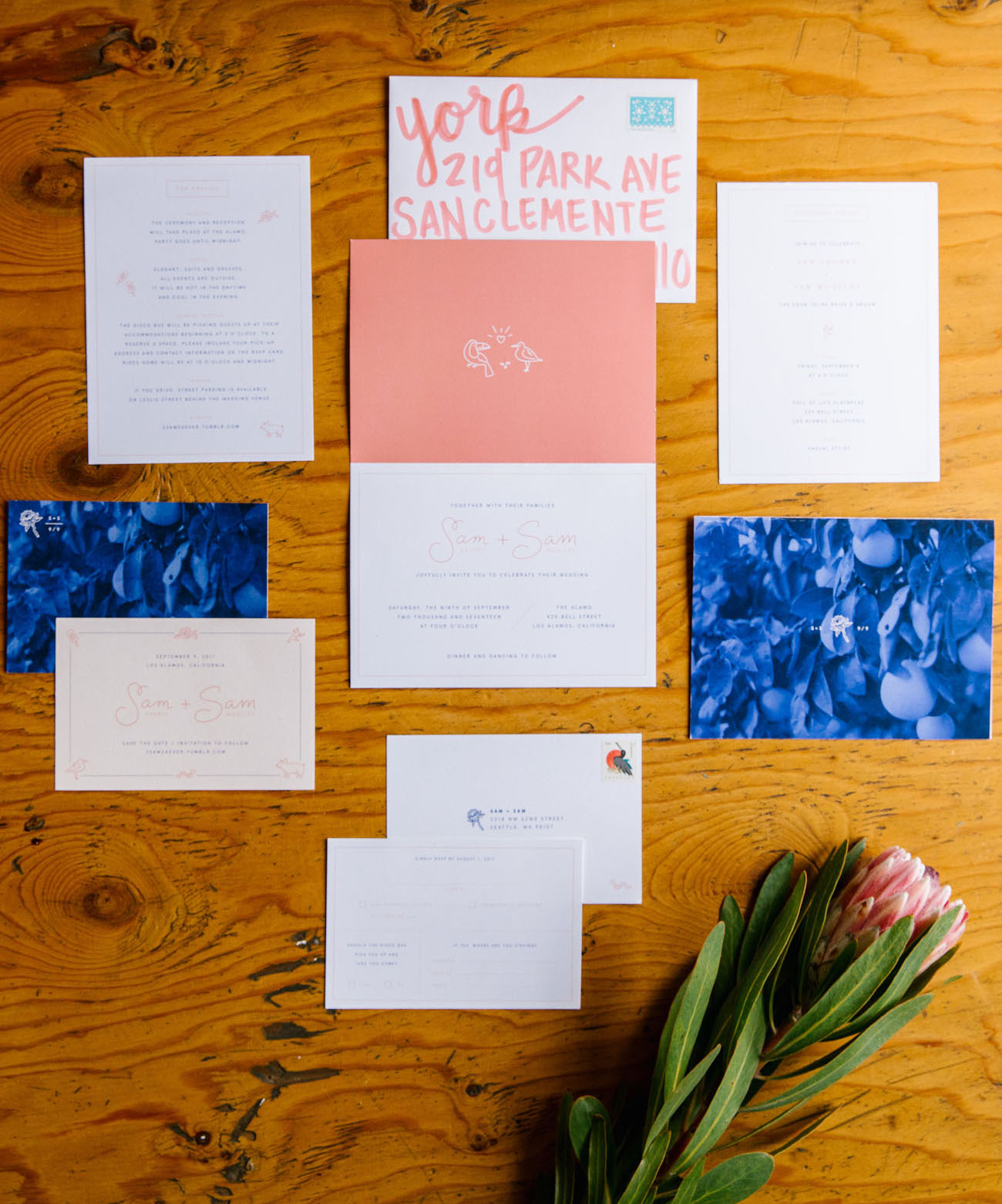 pink invitation suite
