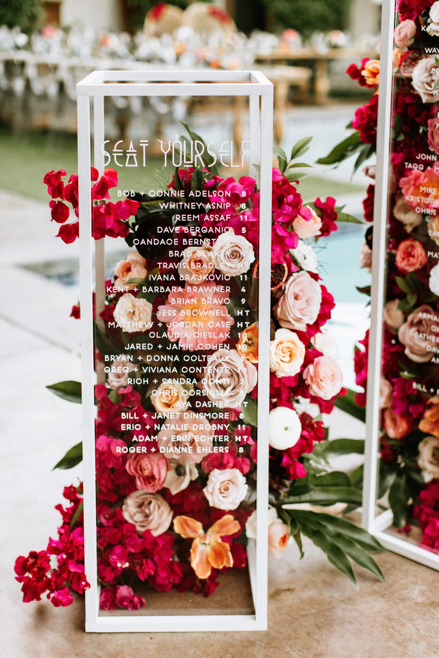 Floral + Acrylic Seating Chart by Shindig Chic