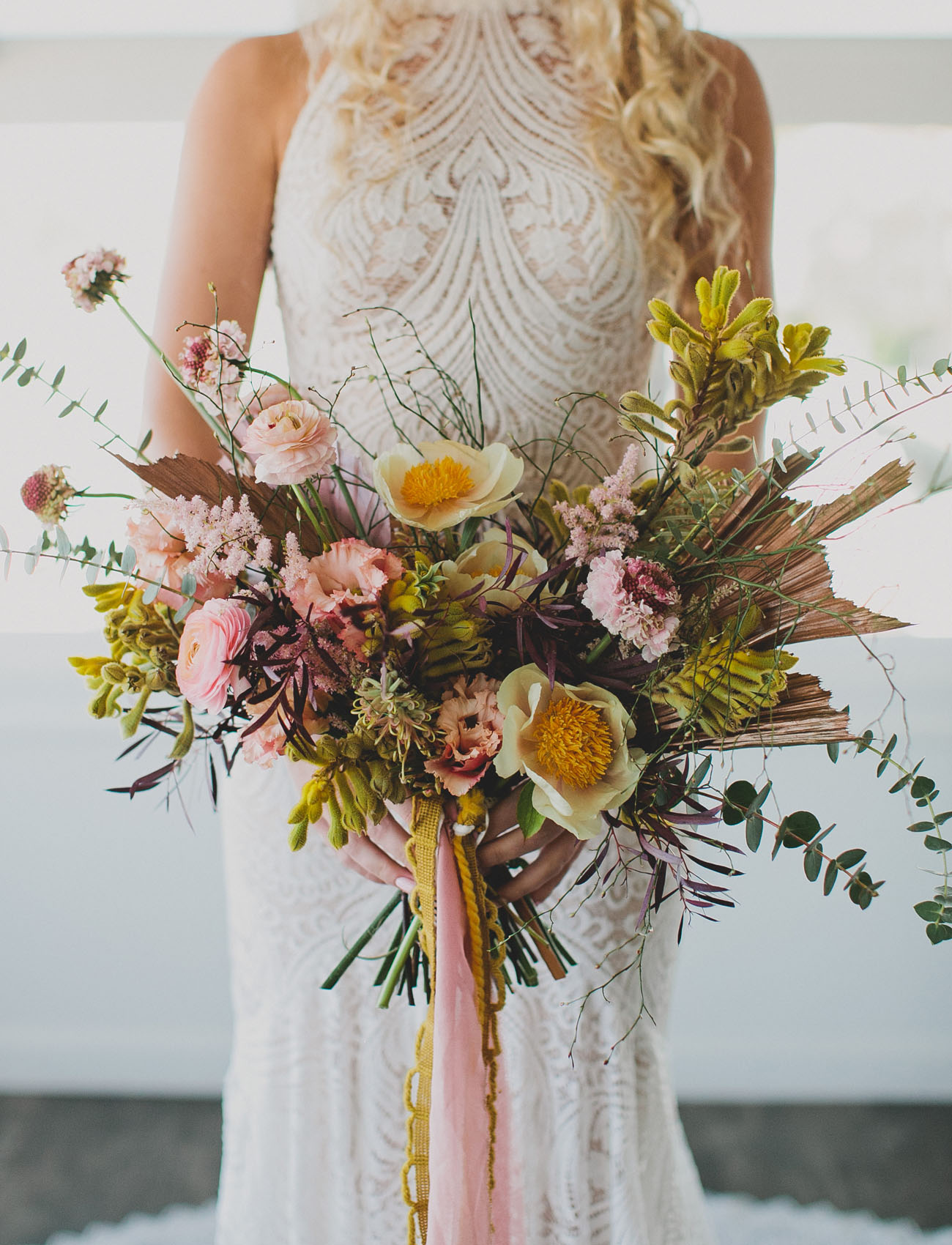 yellow boho bouquet