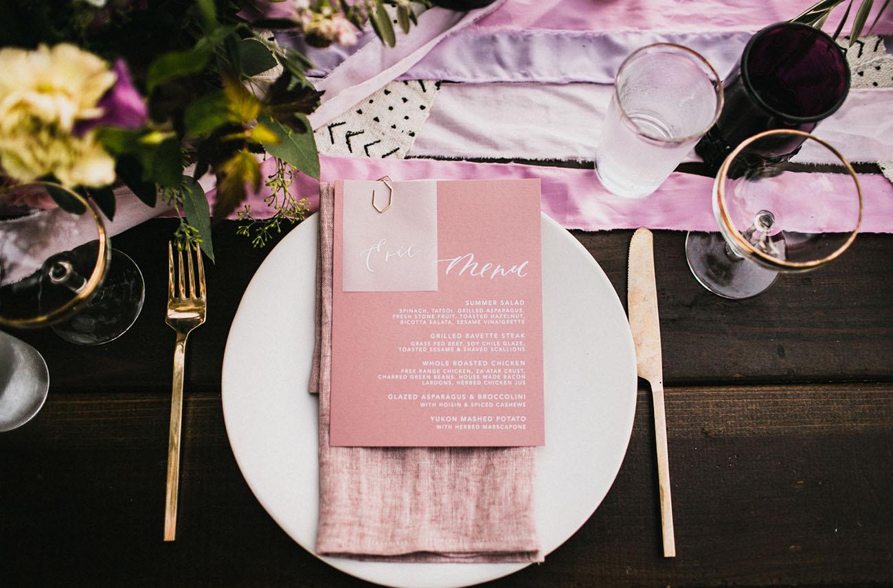 pink dinner menu