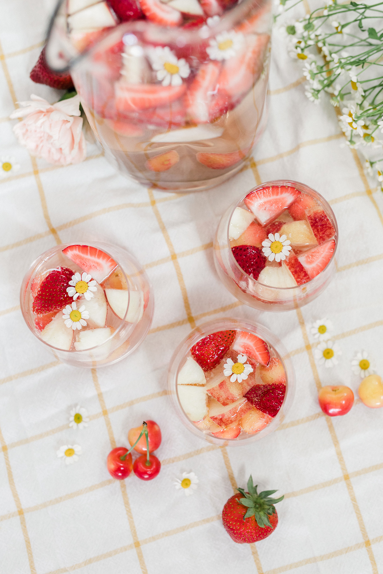 Rosé Sangria with Cherries and Strawberries
