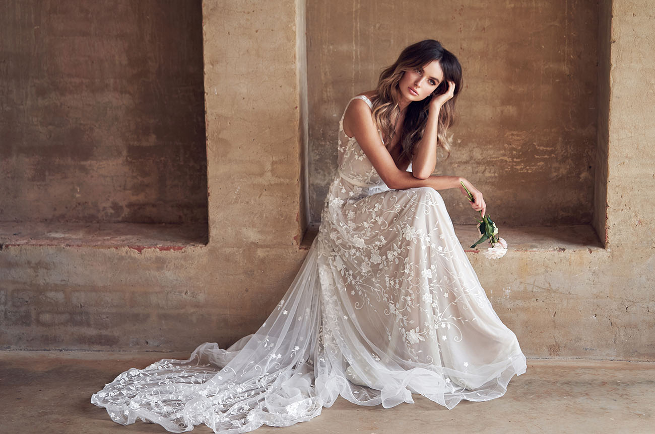 """The Bridal Collection Real Bride: Anna Campbell's Latest """"Wanderlust"""" Collection Is The"""