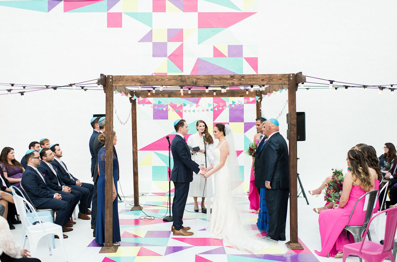 No Color too Bright for this Geometric Warehouse Wedding!