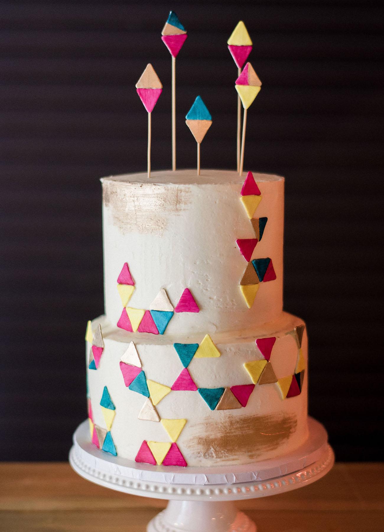 colorful geometric cake