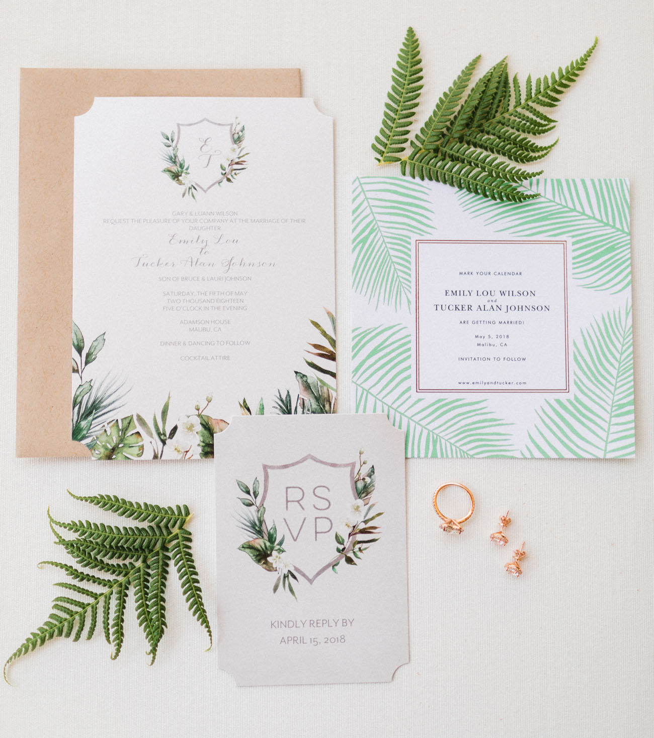 palm wedding invitation