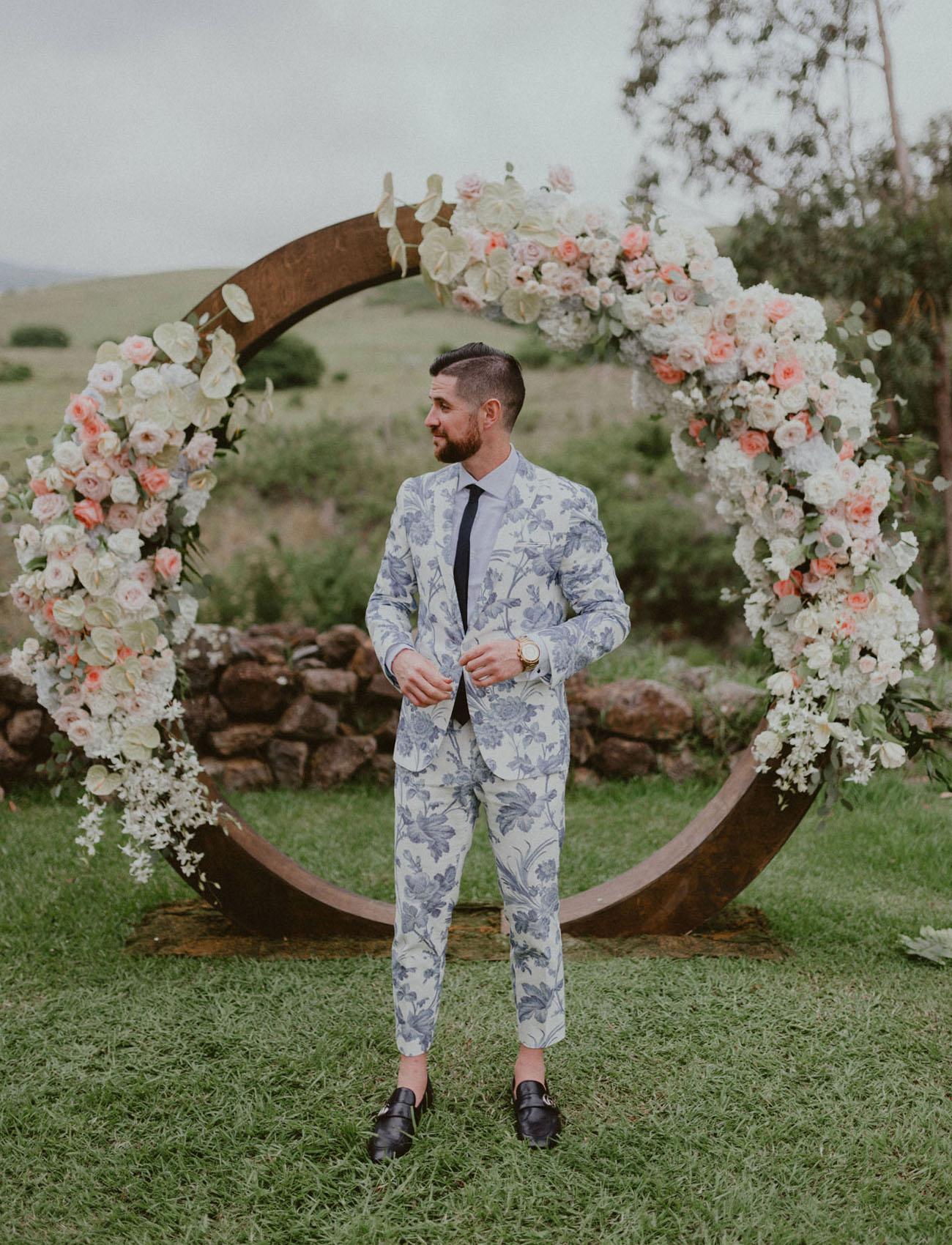 blue floral suit