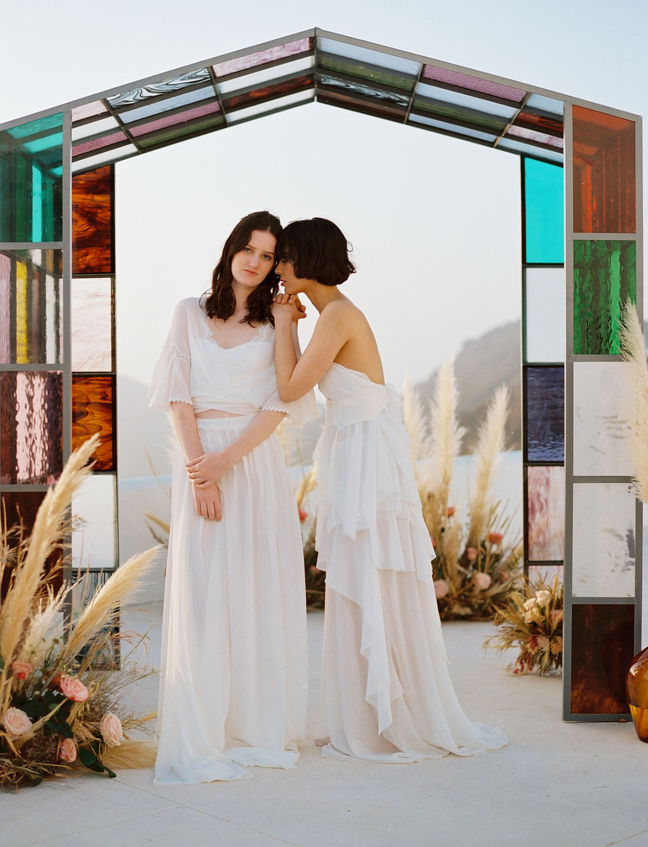 Santorini Stained Glass Wedding Inspiration
