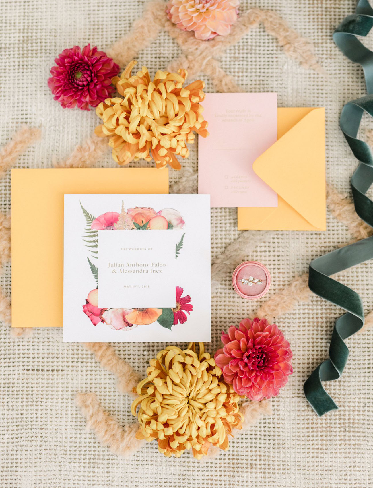 yellow and pink invite