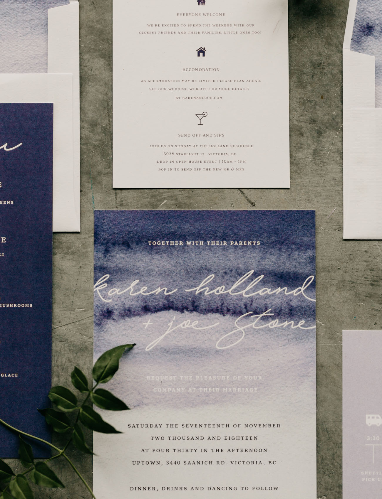 ultraviolet wedding invitation