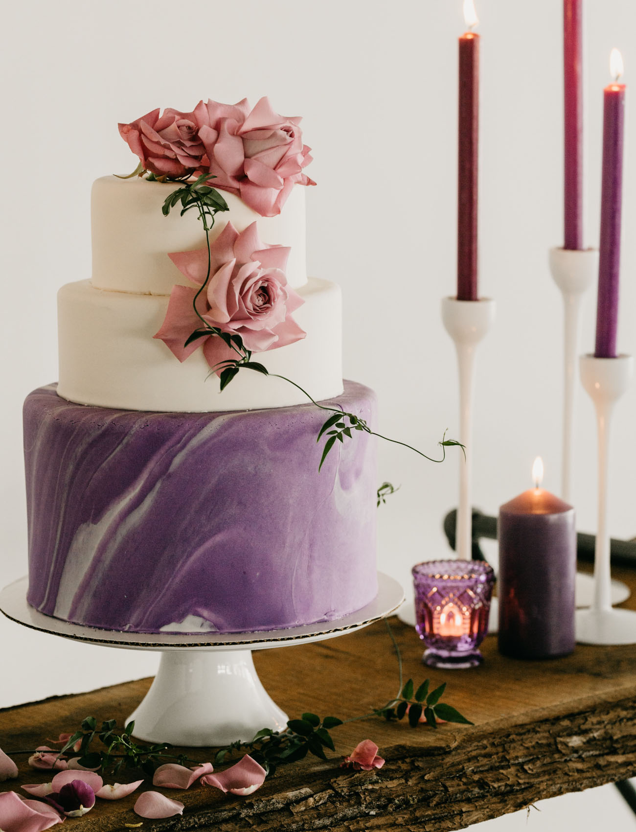 ultraviolet wedding cake