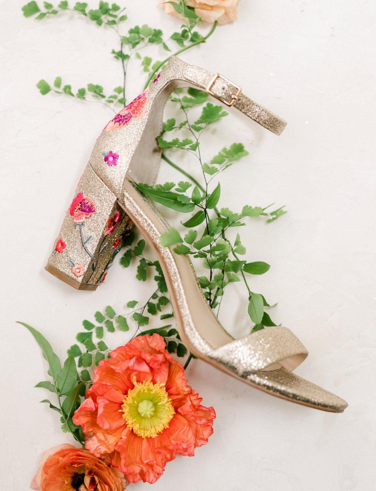 gold floral heel