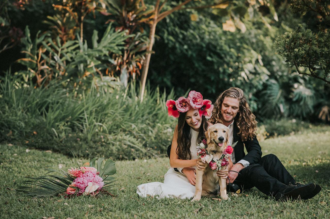 wedding dog in floral collar