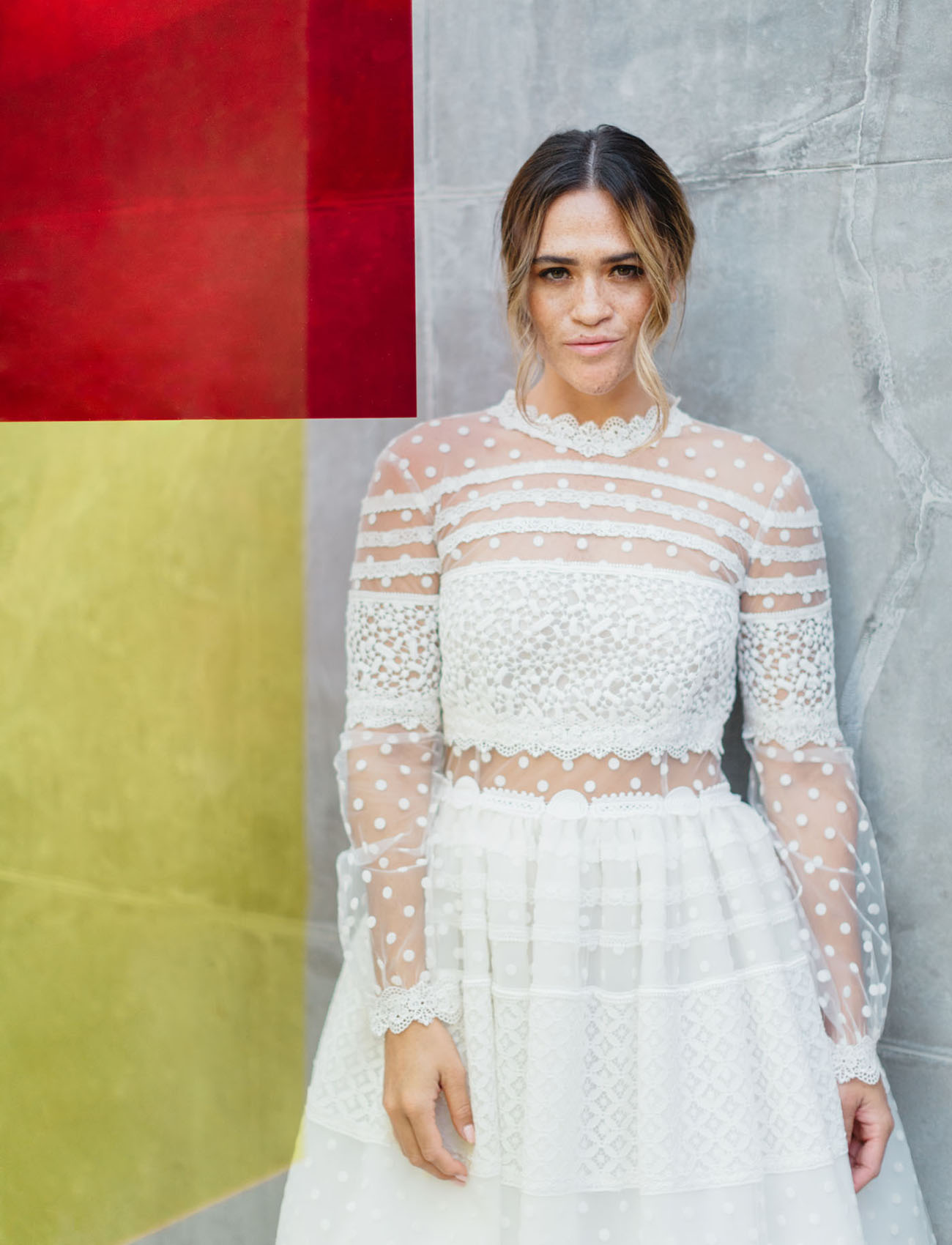white dotted dress