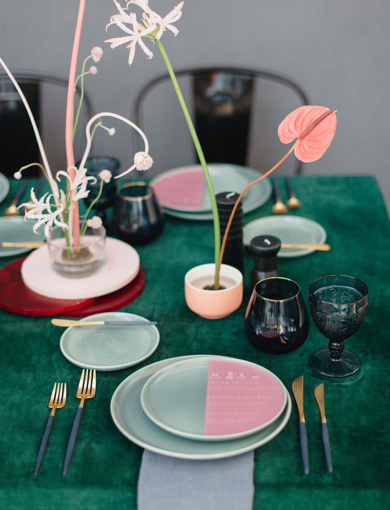 green tableware plates