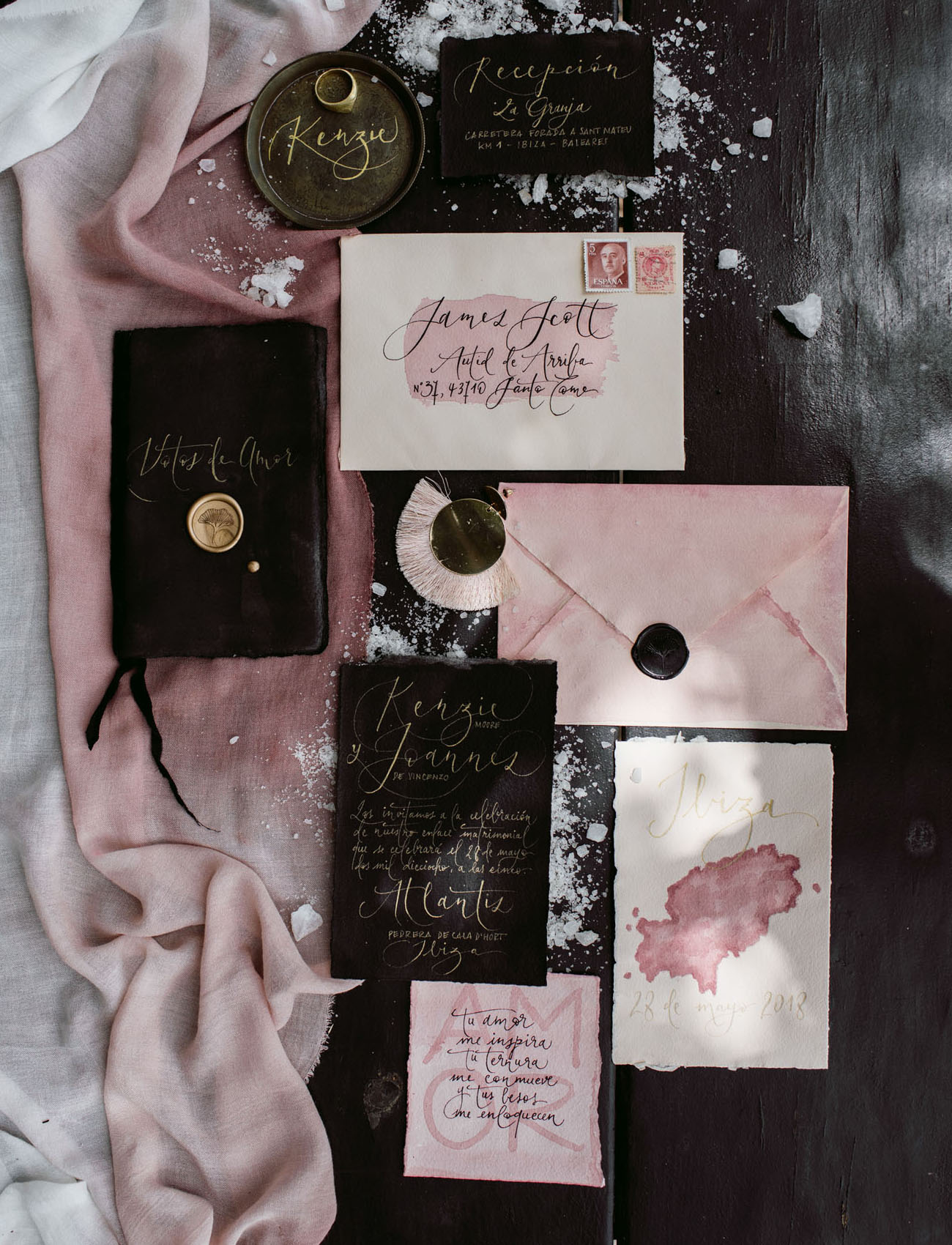 black and pink invitation
