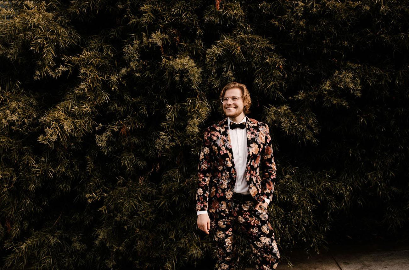 grooms floral suit