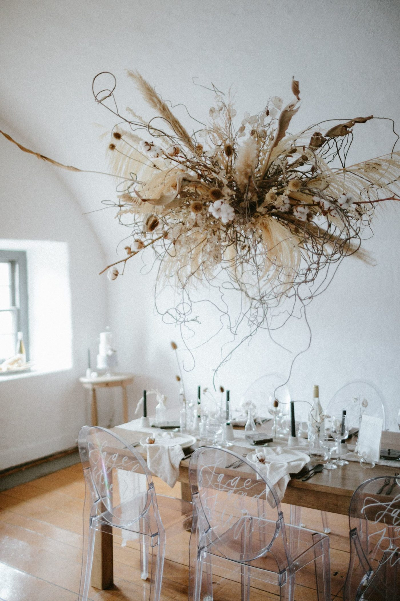 neutral hanging floral installation
