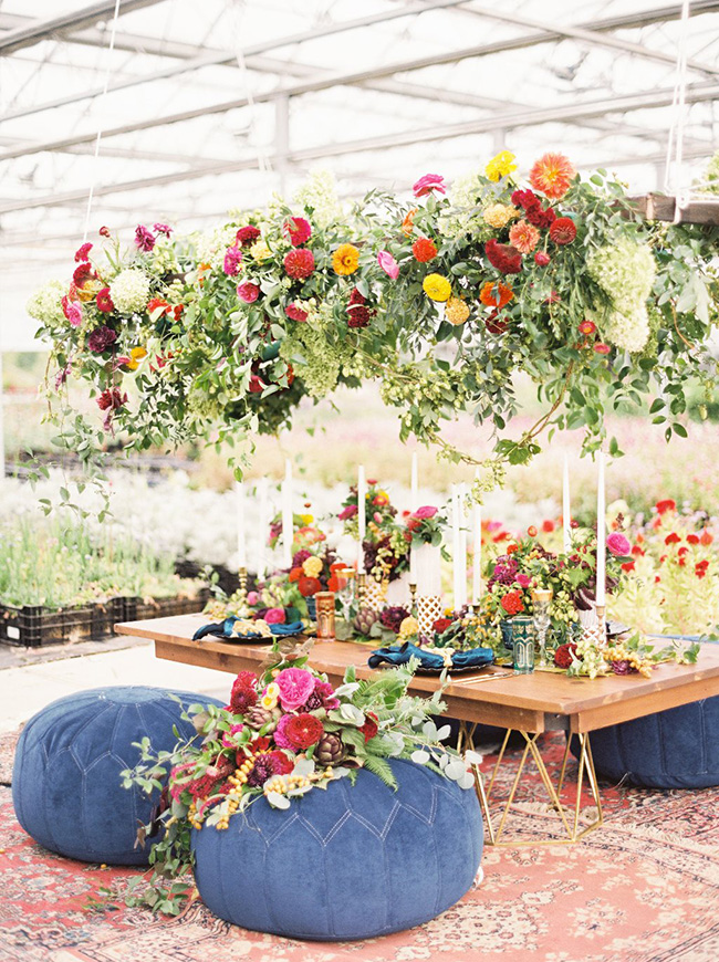 bright boho floral installation
