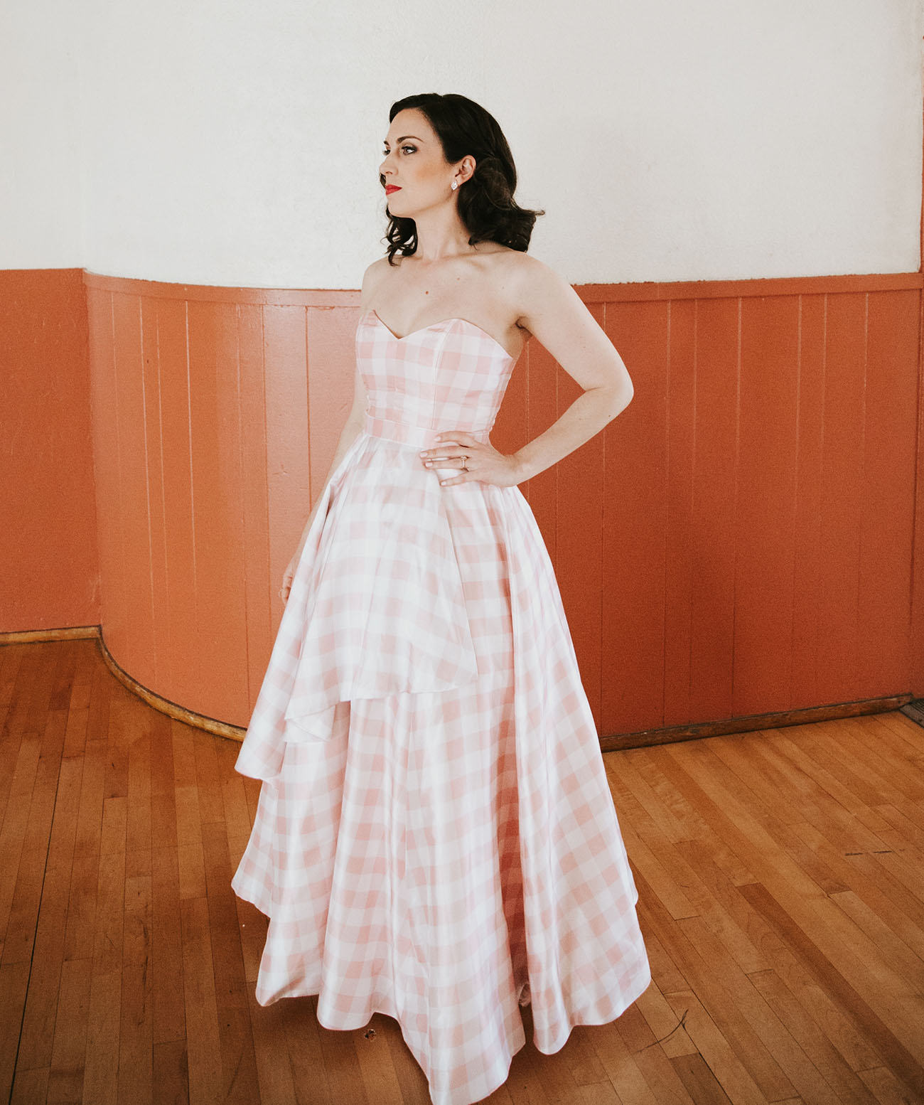 pink gingham wedding dress