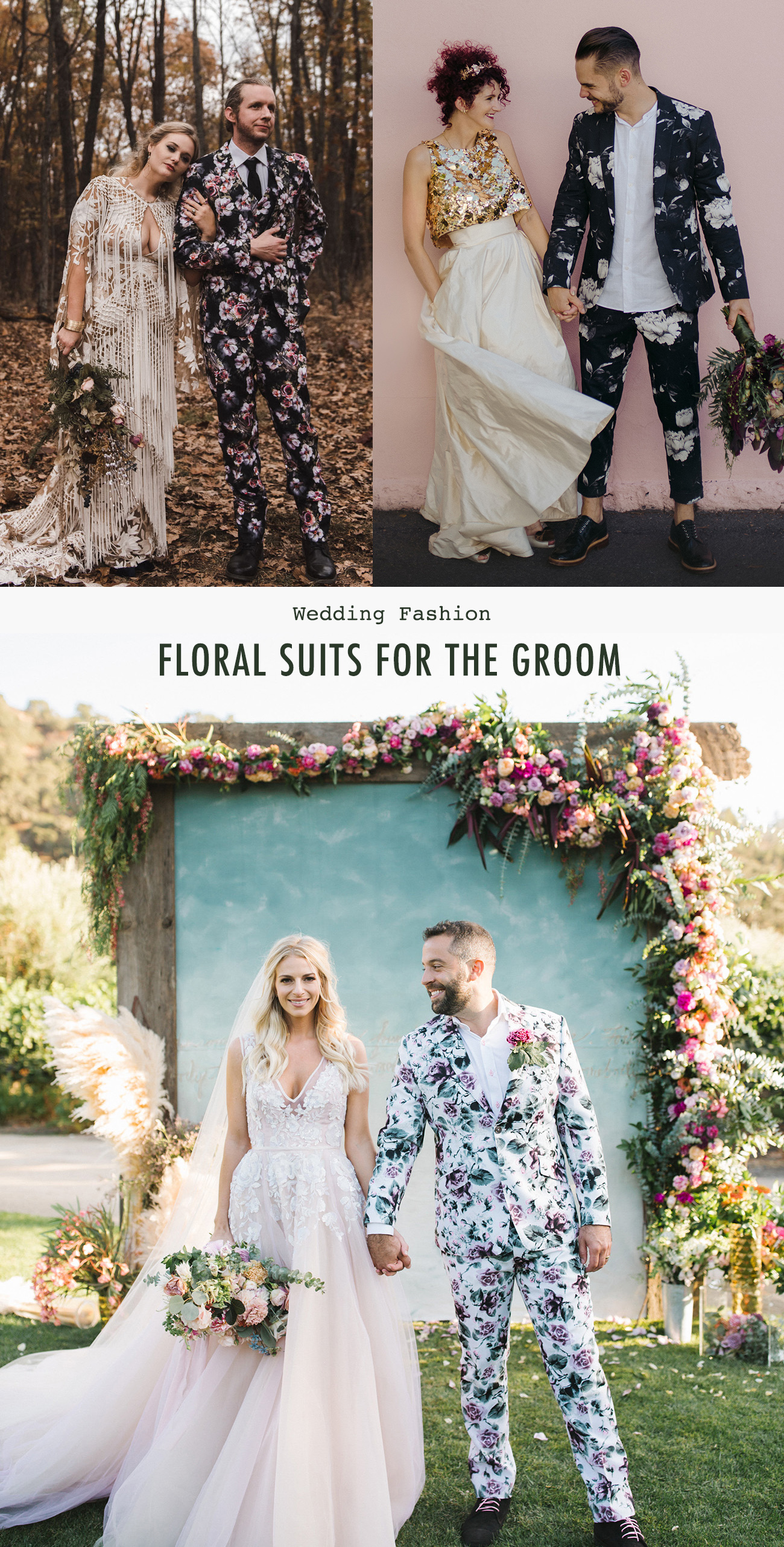 floral suit for the groom