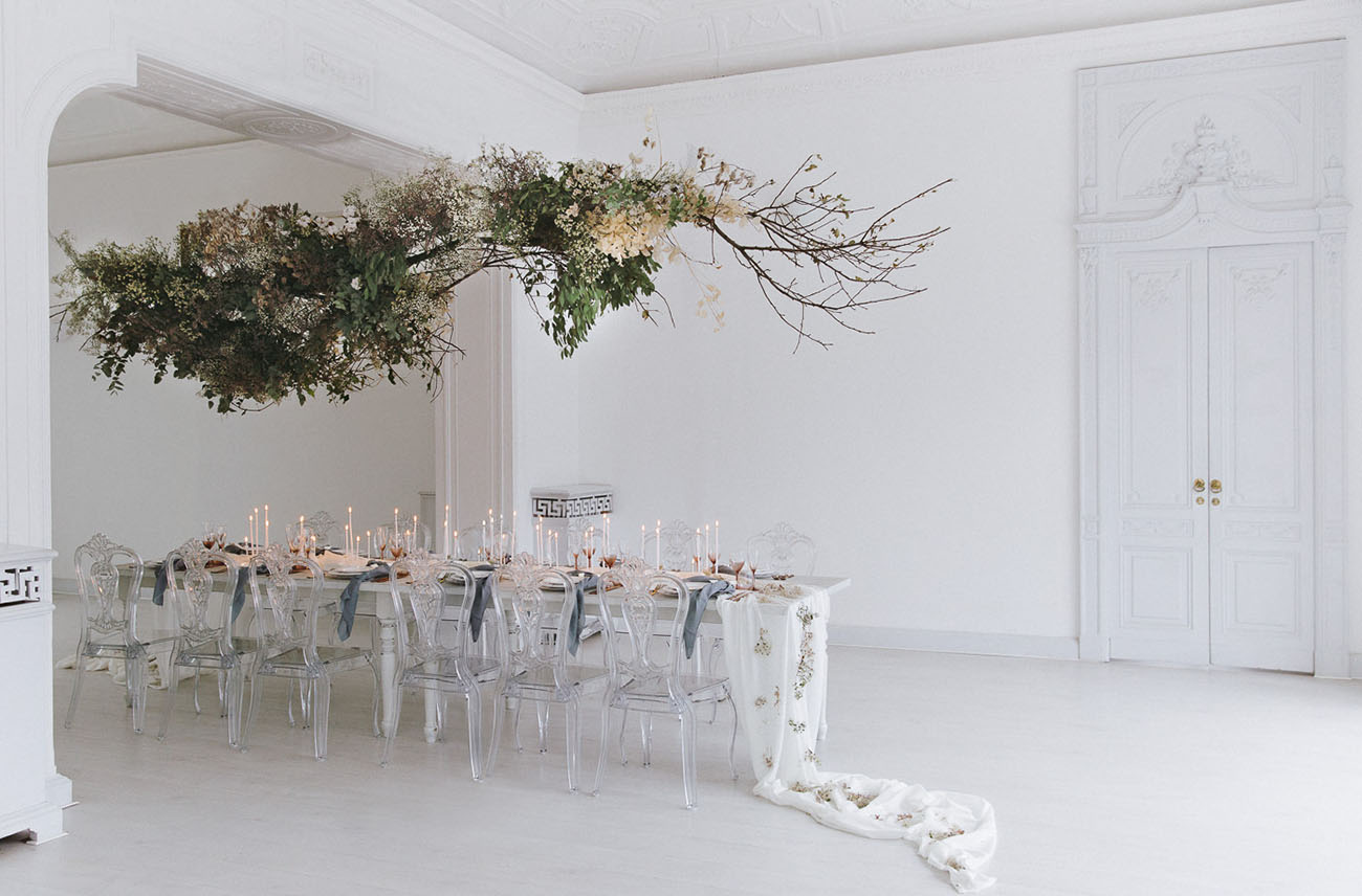 ethereal hanging floral installation
