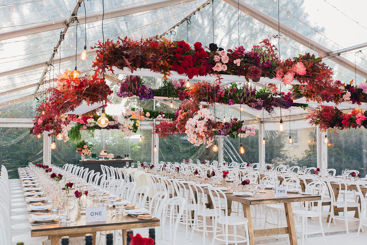 hanging floral installation for wedding reception