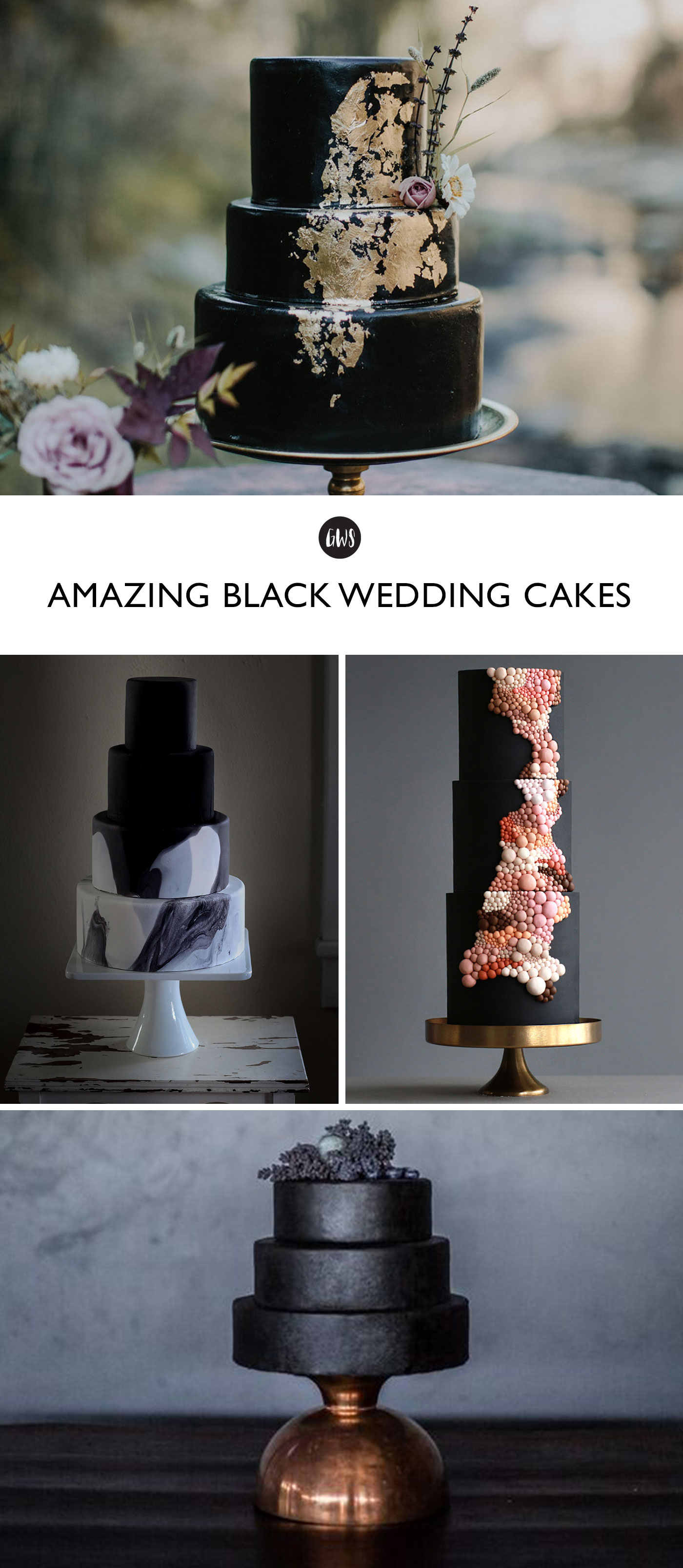 The most beautiful black wedding cakes!