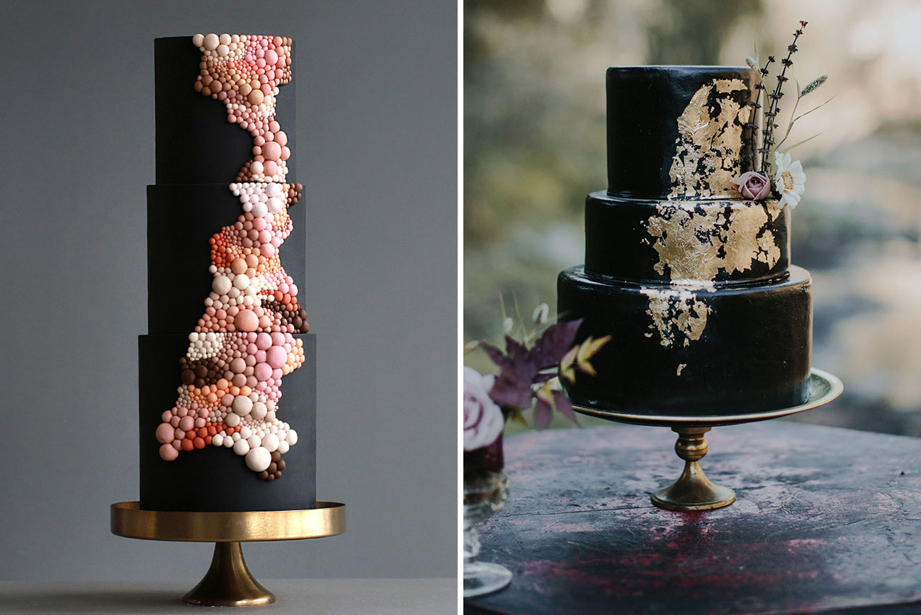 14 Chic Black Wedding Cakes