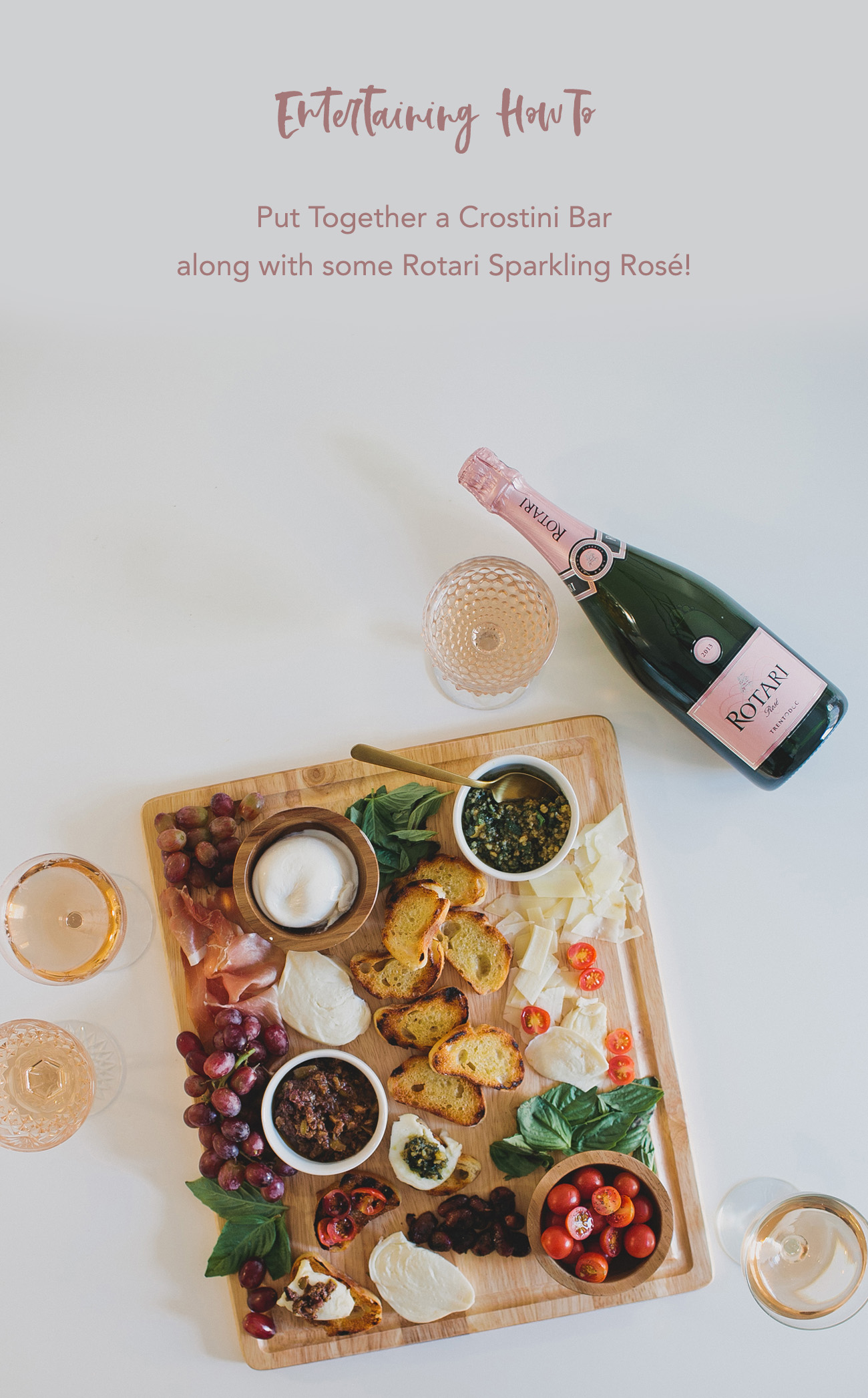 Crostini Bar with Rotari Sparkling Rose
