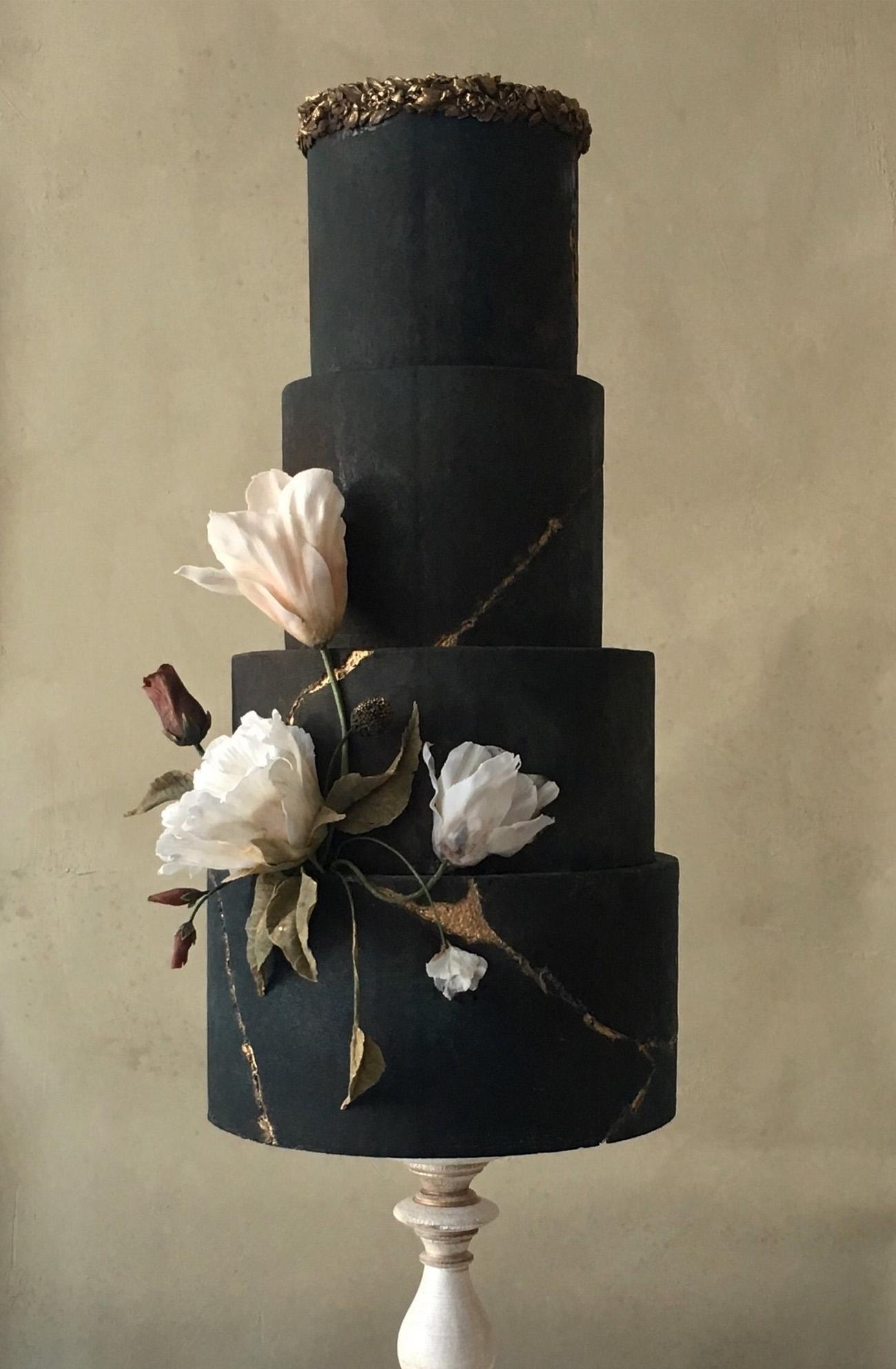 black floral wedding cake