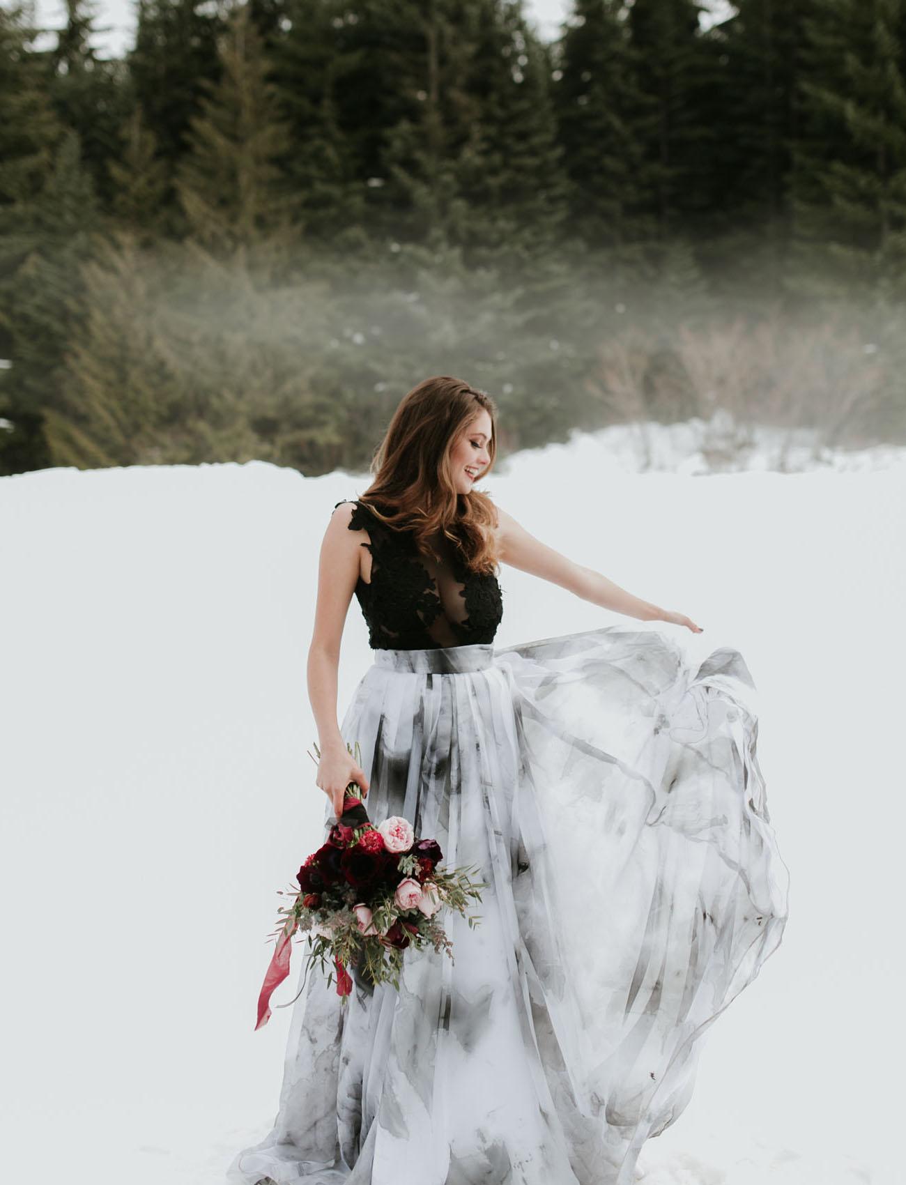 elegant black and white wedding dresses 2019
