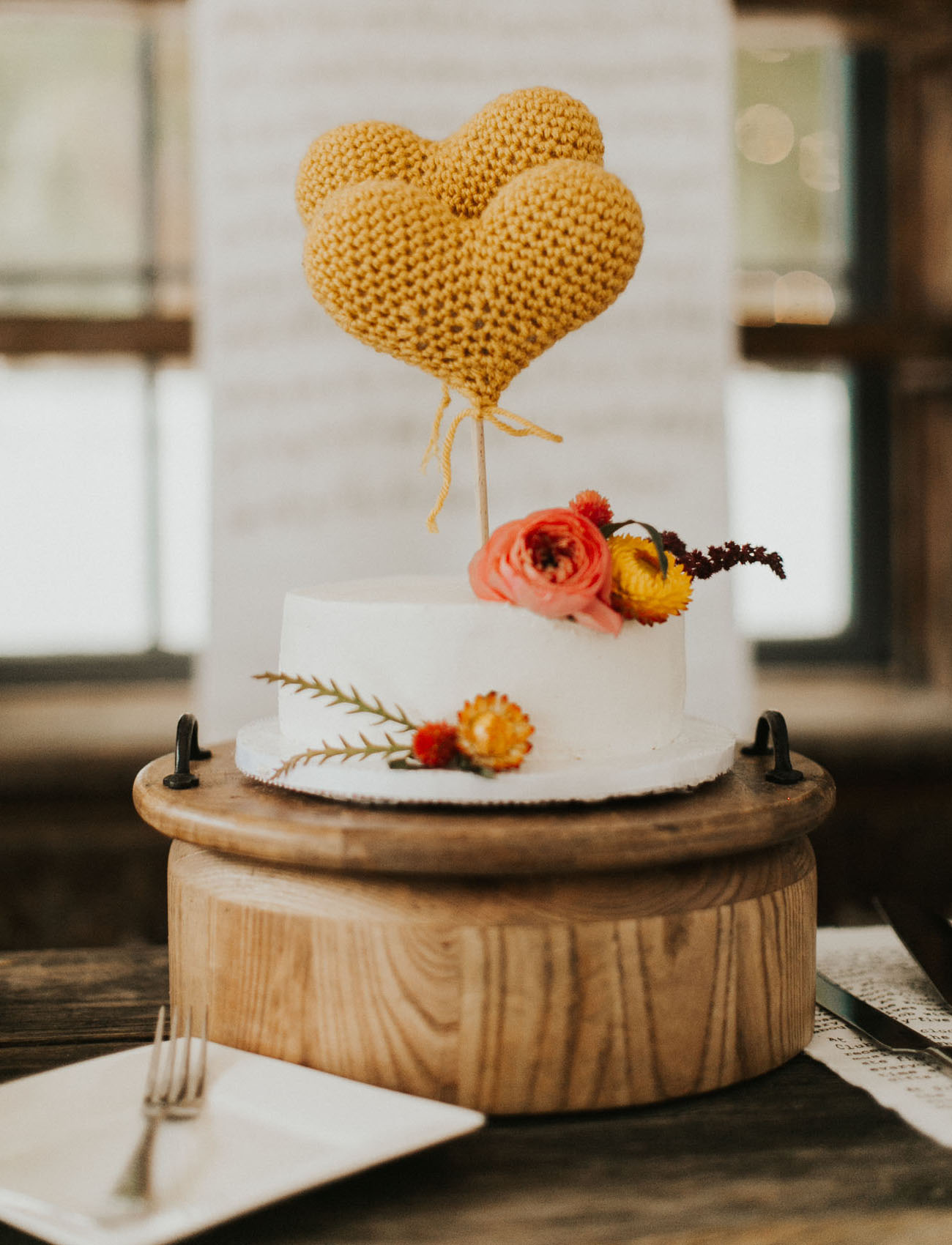 yellow heart cake topper