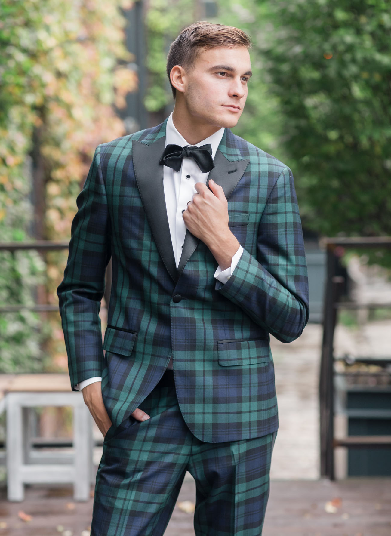 plaid groom suit