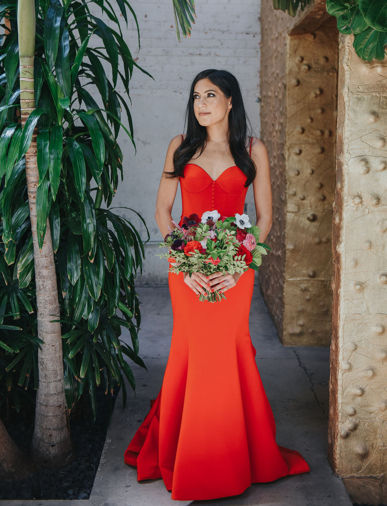 Our Favorite Wedding Dresses With A Pop Of Color Green Wedding
