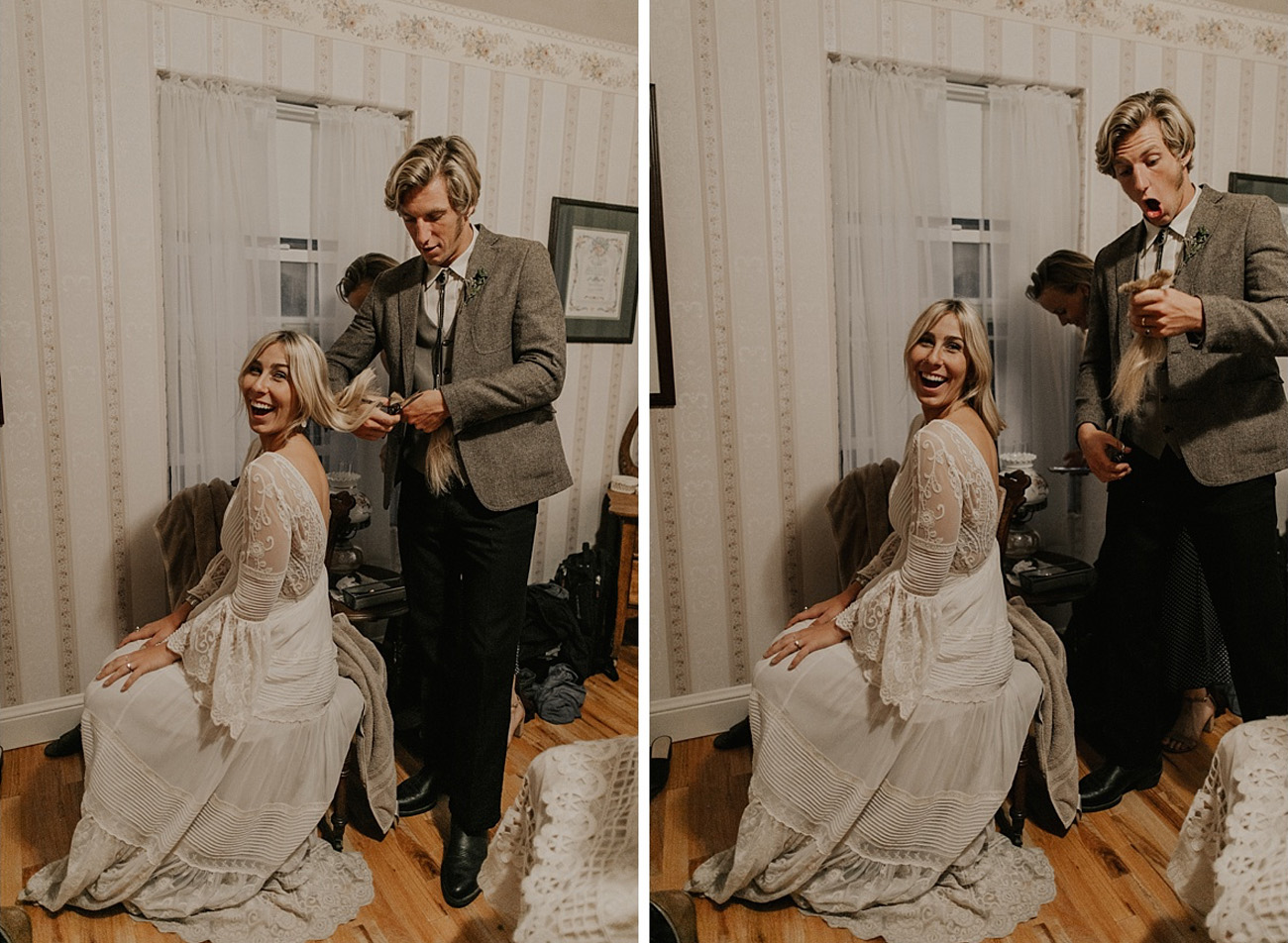 Bride Cutting Hair During Wedding!