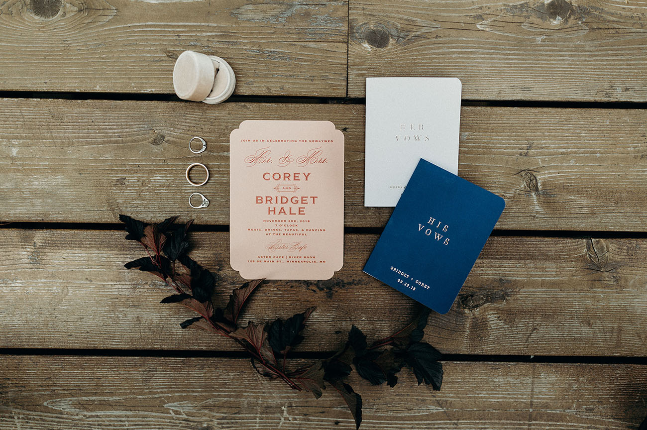 pink and navy wedding invitation