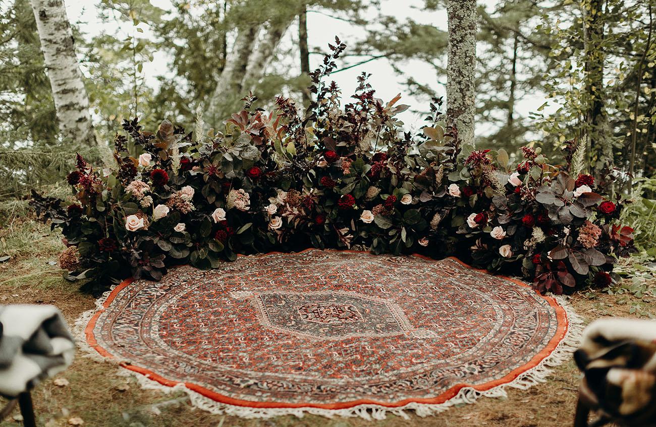 half circle floral install