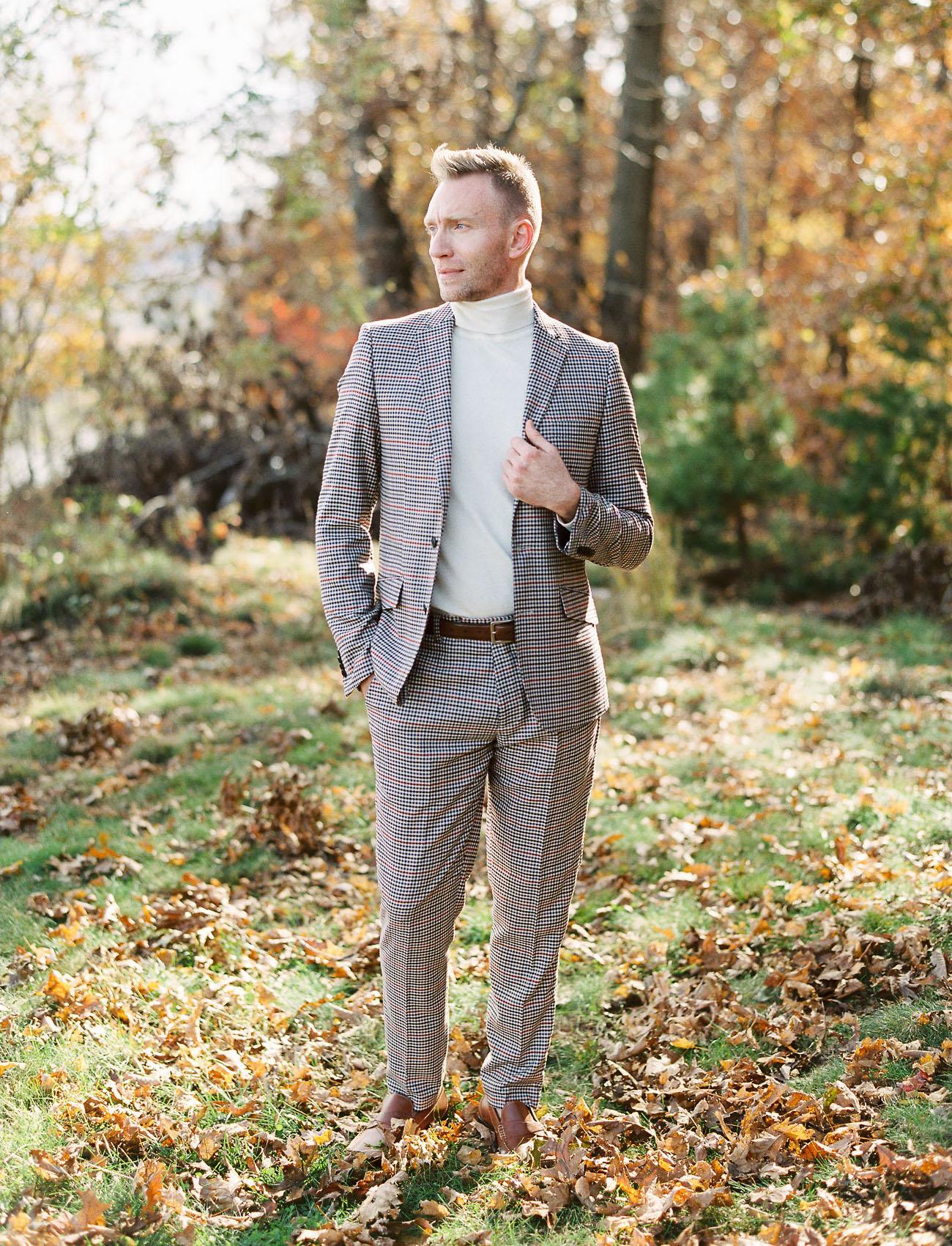 plaid grooms attire