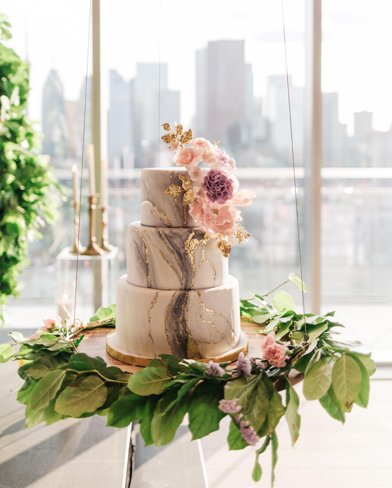 hanging marble wedding cake